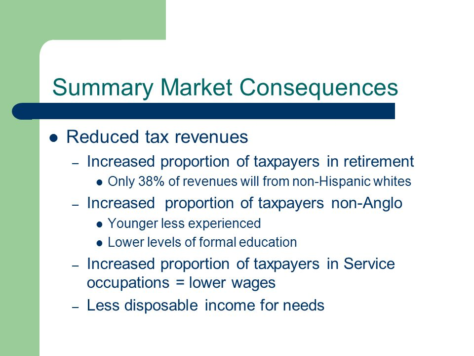 Summary Market Consequences Reduced tax revenues – Increased proportion of taxpayers in retirement Only 38% of revenues will from non-Hispanic whites – Increased proportion of taxpayers non-Anglo Younger less experienced Lower levels of formal education – Increased proportion of taxpayers in Service occupations = lower wages – Less disposable income for needs