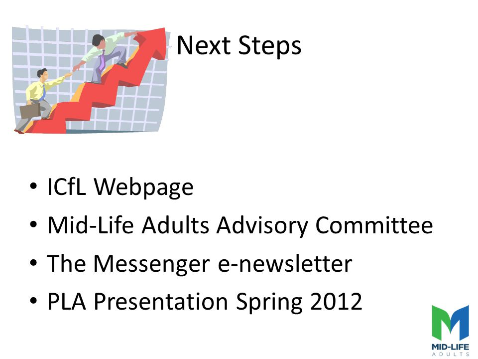 Next Steps ICfL Webpage Mid-Life Adults Advisory Committee The Messenger e-newsletter PLA Presentation Spring 2012