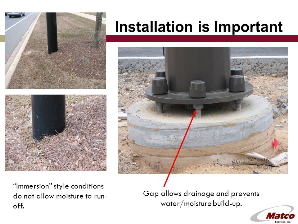 Installation is Important Gap allows drainage and prevents water/moisture build-up.