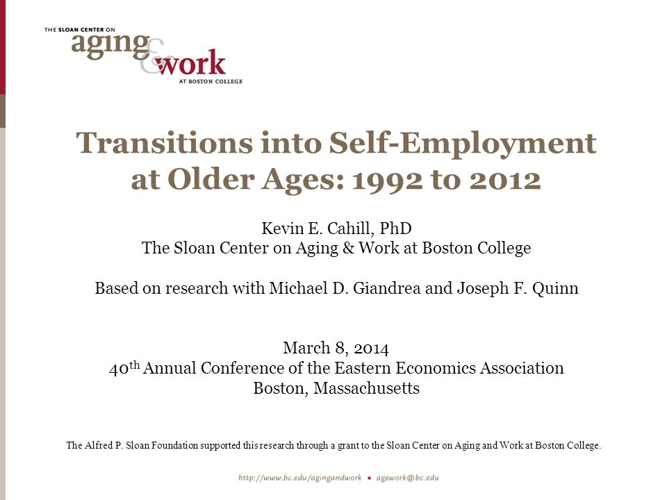 Key Determinants of Transitions Into Self- Employment Later in Life: Demographics Sample: HRS Core Men on a Wage-and-Salary Full-Time Career Job in 1992