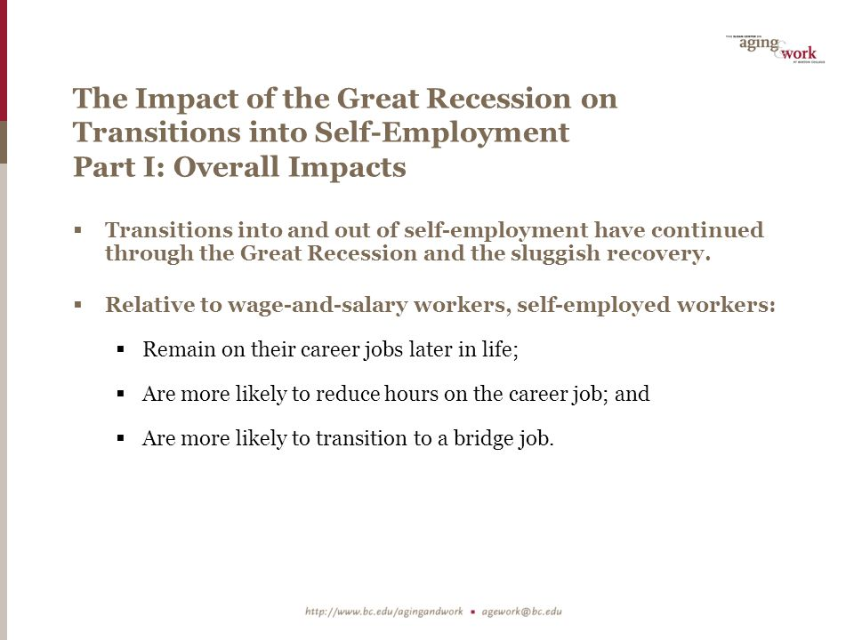 The Impact of the Great Recession on Transitions into Self-Employment Part I: Overall Impacts  Transitions into and out of self-employment have continued through the Great Recession and the sluggish recovery.