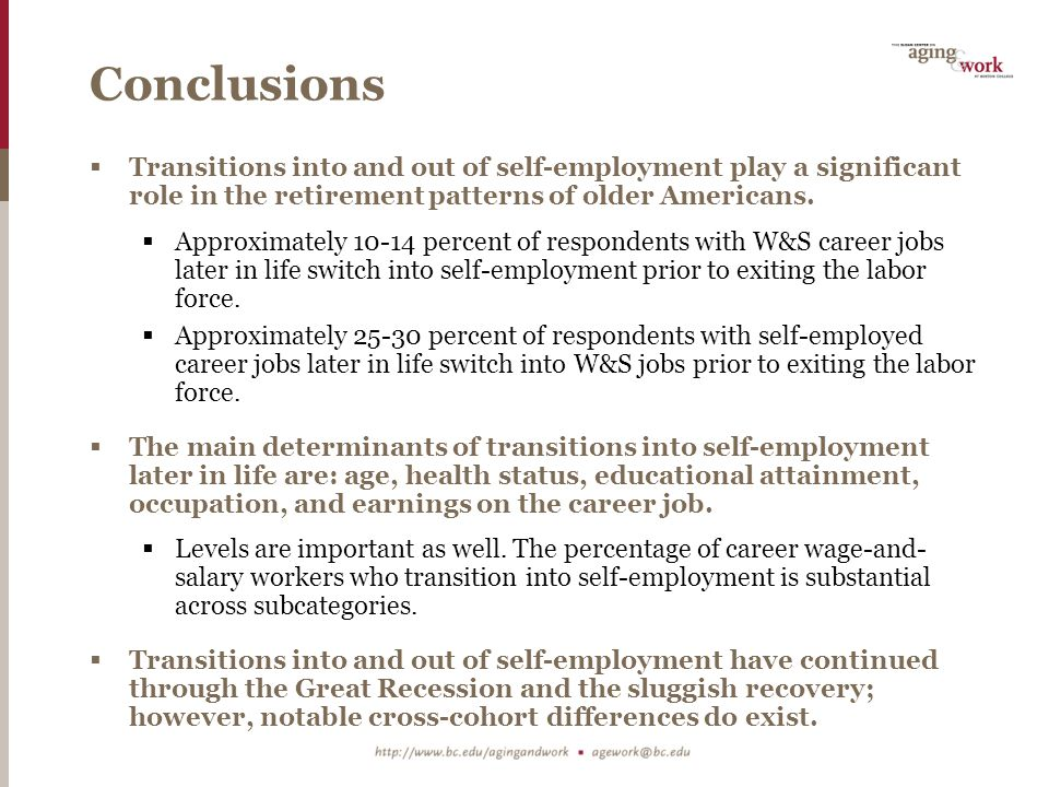 Conclusions  Transitions into and out of self-employment play a significant role in the retirement patterns of older Americans.