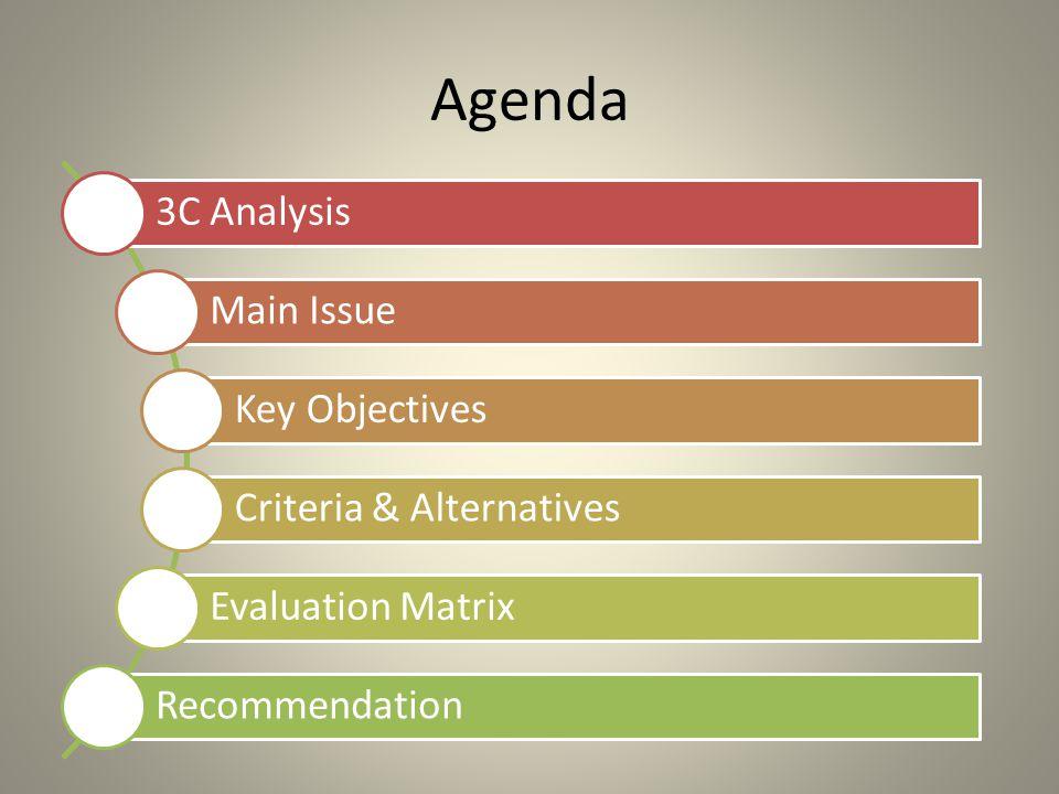 Agenda 3C Analysis Main Issue Key Objectives Criteria & Alternatives Evaluation Matrix Recommendation