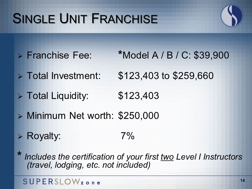 14 S INGLE U NIT F RANCHISE  Franchise Fee: * Model A / B / C: $39,900  Total Investment:$123,403 to $259,660  Total Liquidity:$123,403  Minimum Net worth:$250,000  Royalty: 7% * Includes the certification of your first two Level I Instructors (travel, lodging, etc.