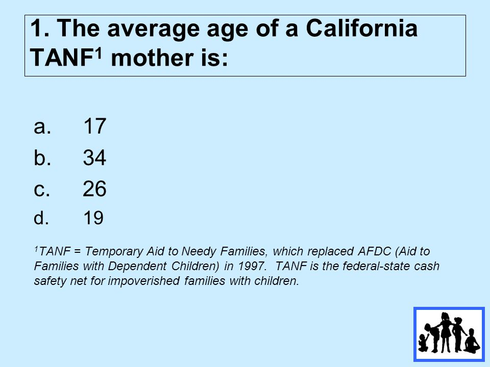 2. The percent of California's TANF mothers under age 19 is: a)61% b)2% c)21% d)18%