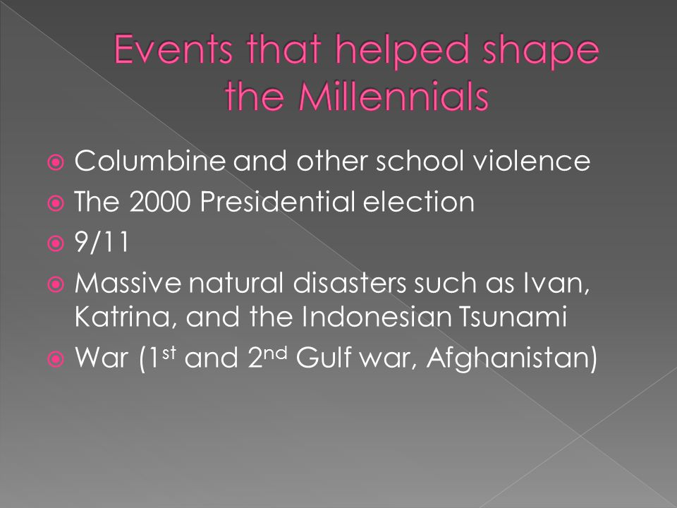  Columbine and other school violence  The 2000 Presidential election  9/11  Massive natural disasters such as Ivan, Katrina, and the Indonesian Tsunami  War (1 st and 2 nd Gulf war, Afghanistan)