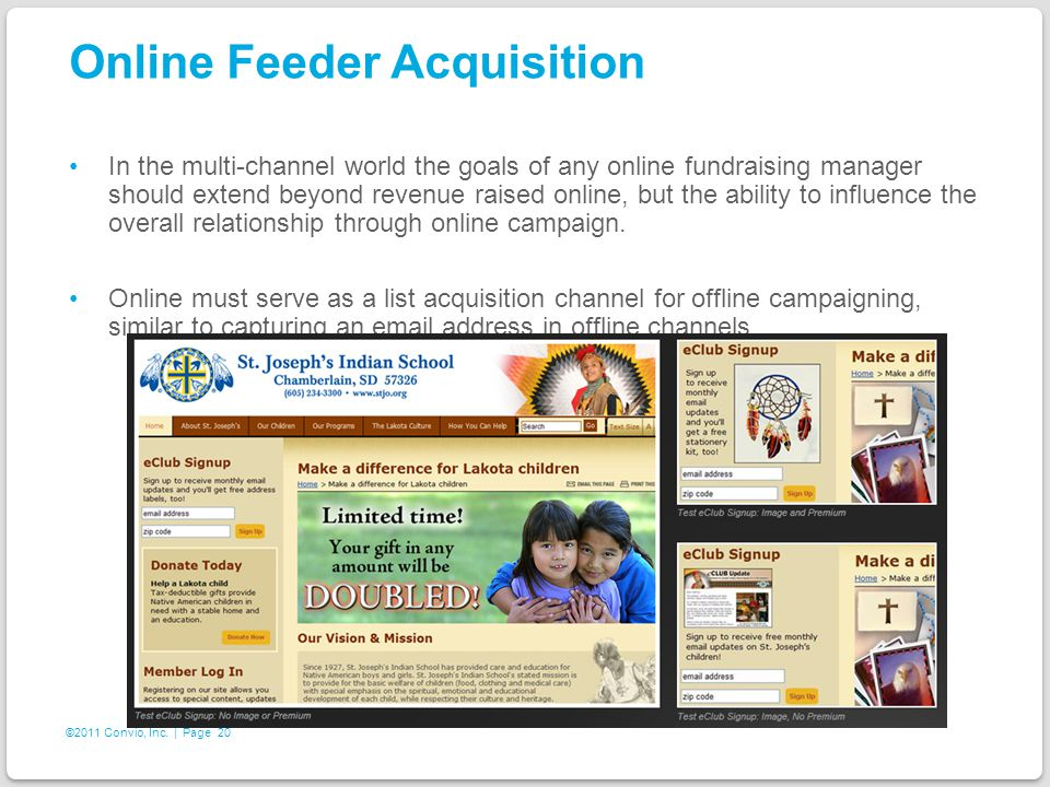 20 ©2011 Convio, Inc. | Page Online Feeder Acquisition In the multi-channel world the goals of any online fundraising manager should extend beyond rev