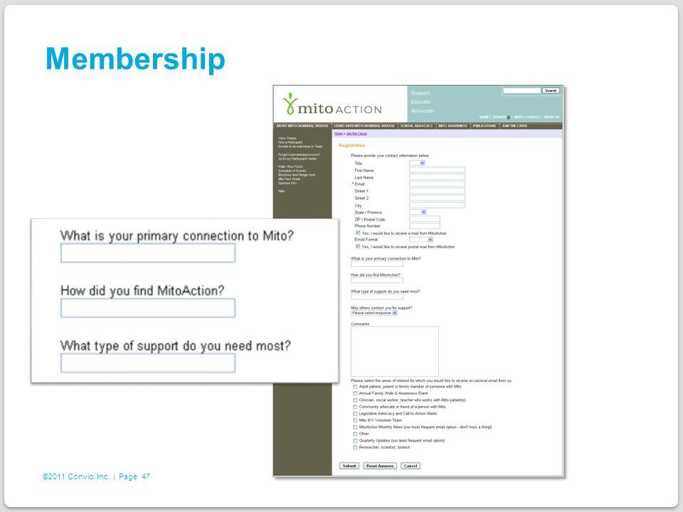 47 ©2011 Convio, Inc. | Page Membership