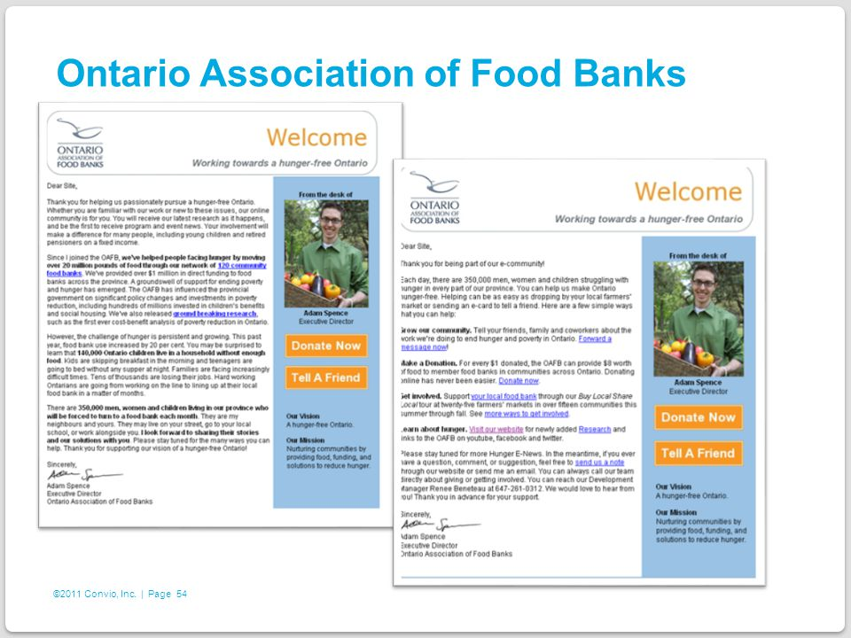 54 ©2011 Convio, Inc. | Page Ontario Association of Food Banks