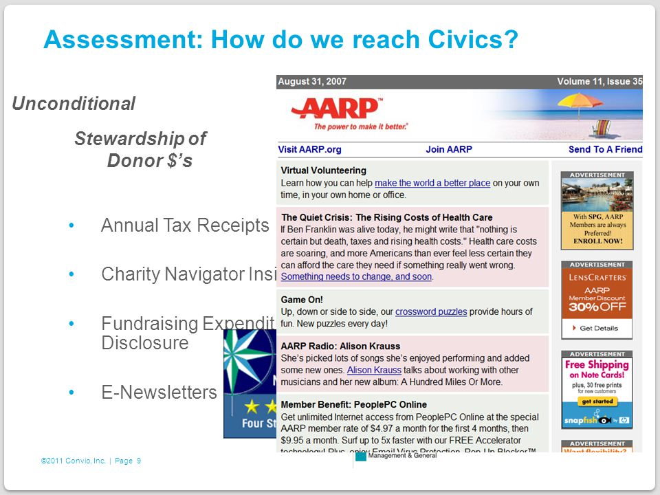9 ©2011 Convio, Inc. | Page Assessment: How do we reach Civics.