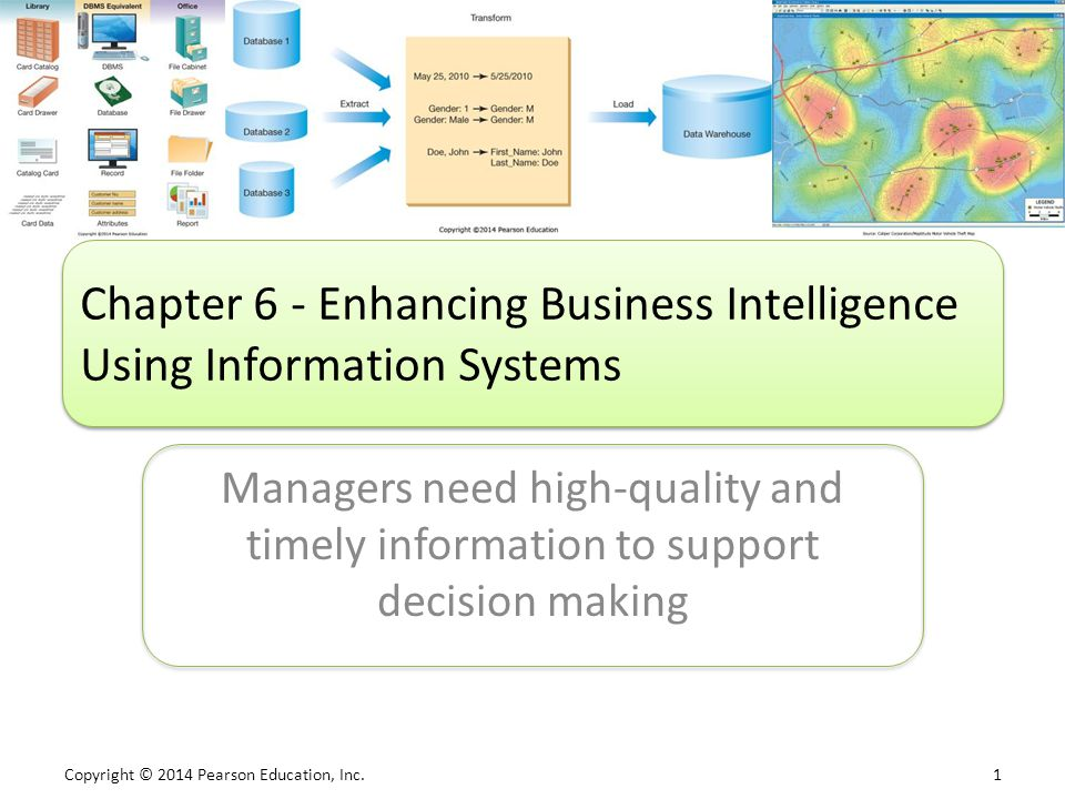 Copyright © 2014 Pearson Education, Inc. 1 Managers need high-quality and timely information to support decision making Chapter 6 - Enhancing Business