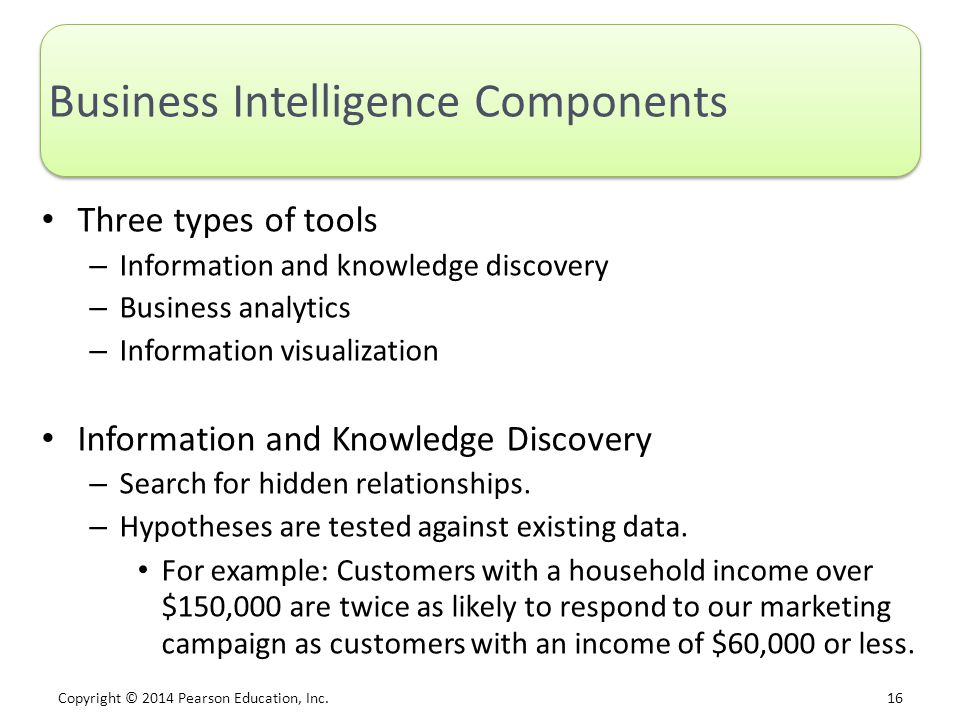 Copyright © 2014 Pearson Education, Inc. 16 Business Intelligence Components Three types of tools – Information and knowledge discovery – Business ana