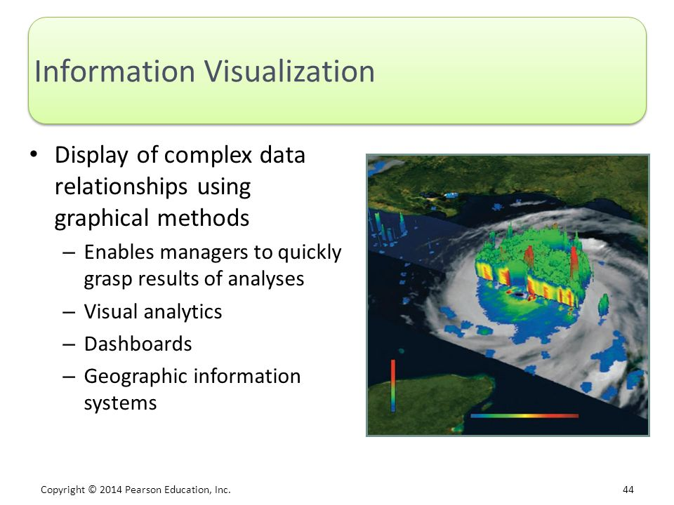 Copyright © 2014 Pearson Education, Inc. 44 Information Visualization Display of complex data relationships using graphical methods – Enables managers
