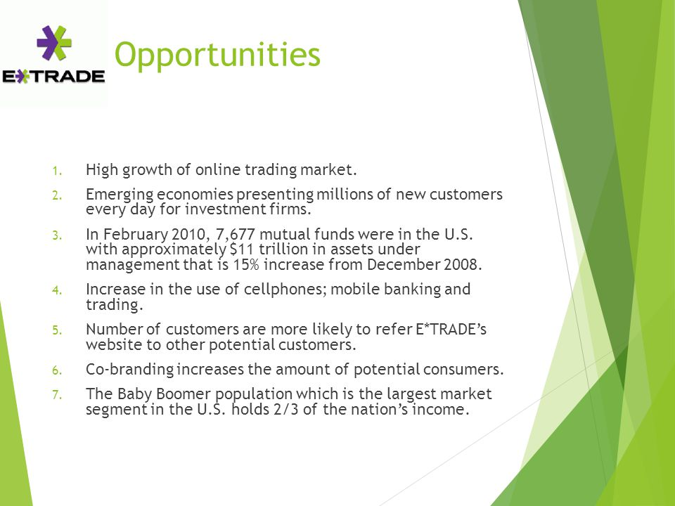 Opportunities 1. High growth of online trading market. 2. Emerging economies presenting millions of new customers every day for investment firms. 3. I
