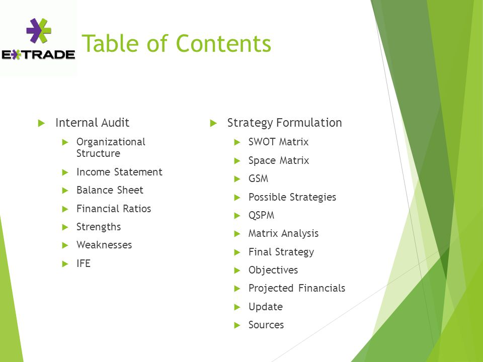 Table of Contents  Internal Audit  Organizational Structure  Income Statement  Balance Sheet  Financial Ratios  Strengths  Weaknesses  IFE  S