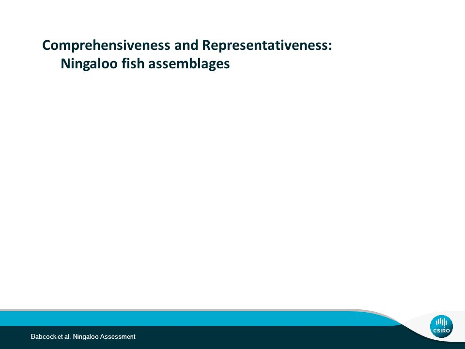 Babcock et al. Ningaloo Assessment Comprehensiveness and Representativeness: Ningaloo fish assemblages