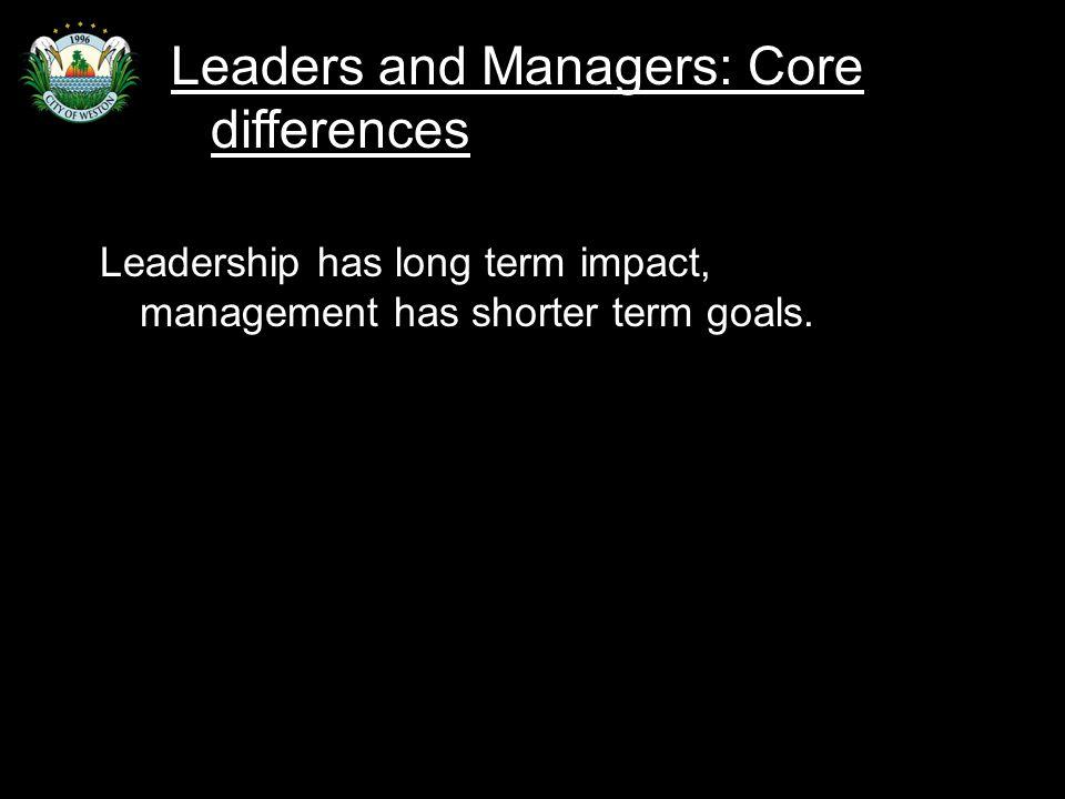 Slide 46 Leadership has long term impact, management has shorter term goals.