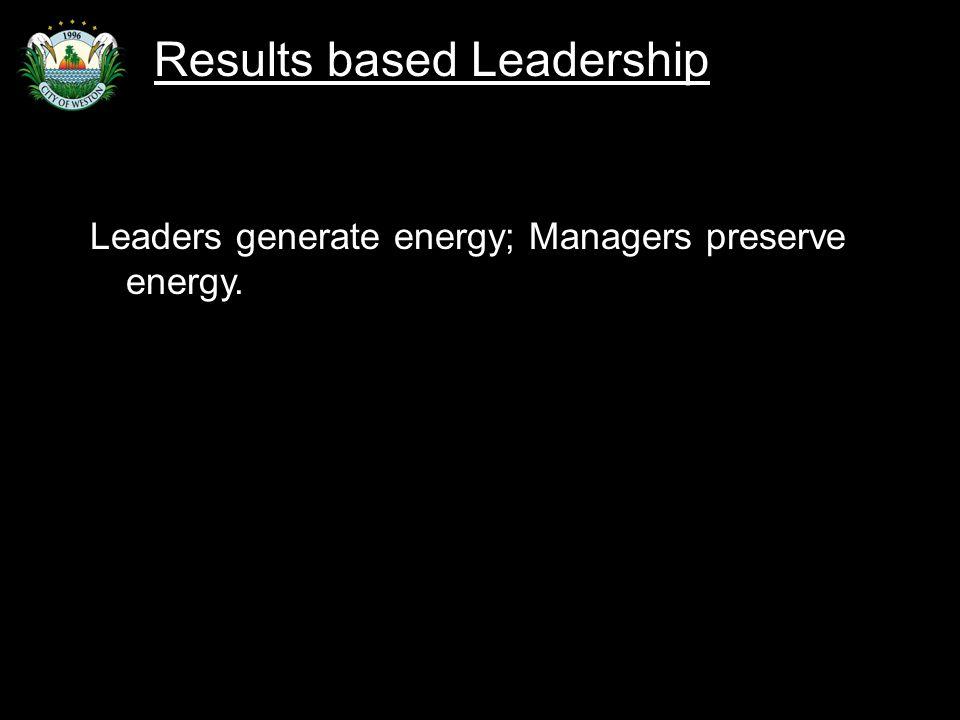 Slide 54 Leaders generate energy; Managers preserve energy. Results based Leadership
