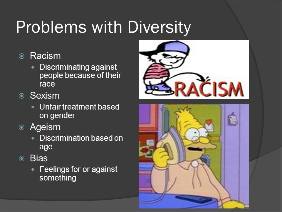 Problems with Diversity  Racism Discriminating against people because of their race  Sexism Unfair treatment based on gender  Ageism Discrimination based on age  Bias Feelings for or against something