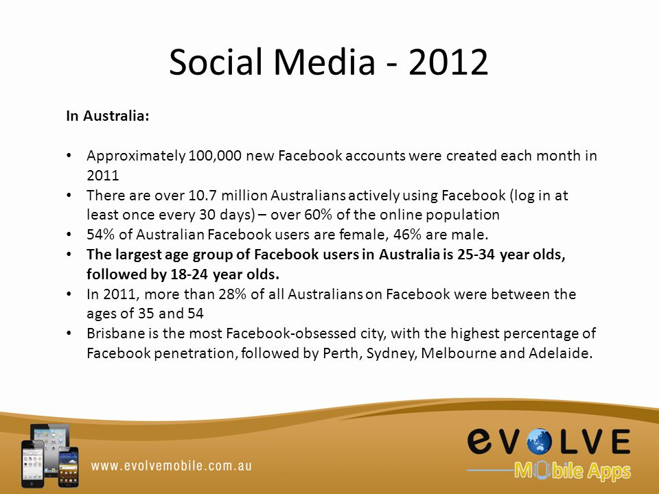 Social Media - 2012 In Australia: Approximately 100,000 new Facebook accounts were created each month in 2011 There are over 10.7 million Australians actively using Facebook (log in at least once every 30 days) – over 60% of the online population 54% of Australian Facebook users are female, 46% are male.