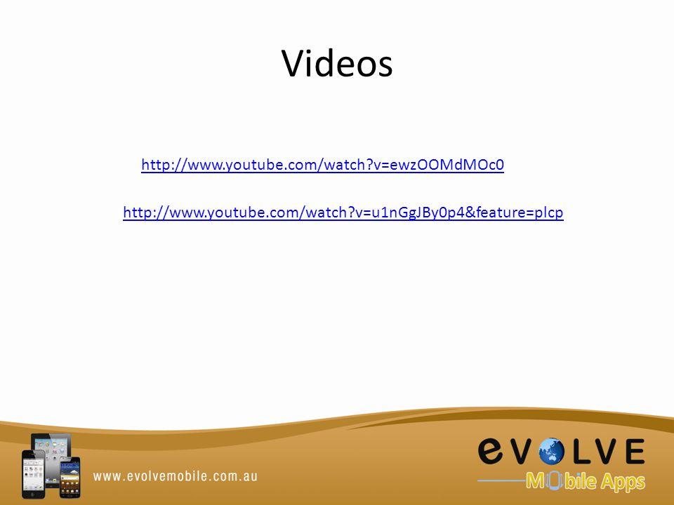 Videos http://www.youtube.com/watch v=ewzOOMdMOc0 http://www.youtube.com/watch v=u1nGgJBy0p4&feature=plcp