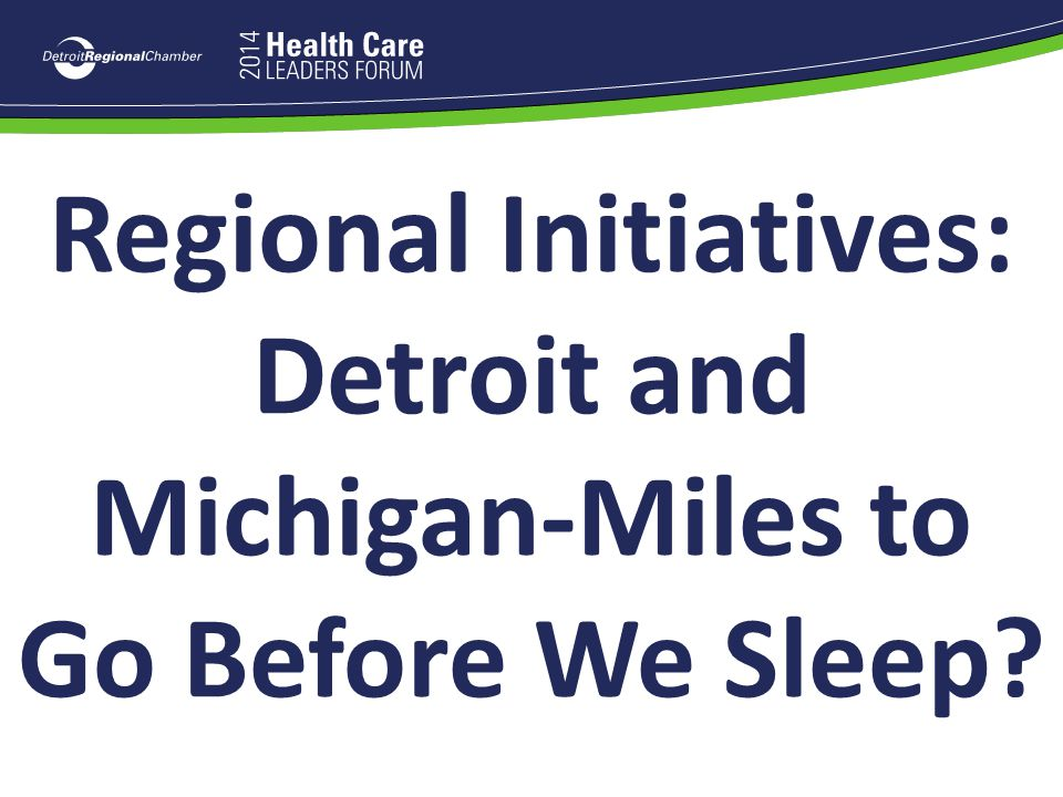 Regional Initiatives: Detroit and Michigan-Miles to Go Before We Sleep?