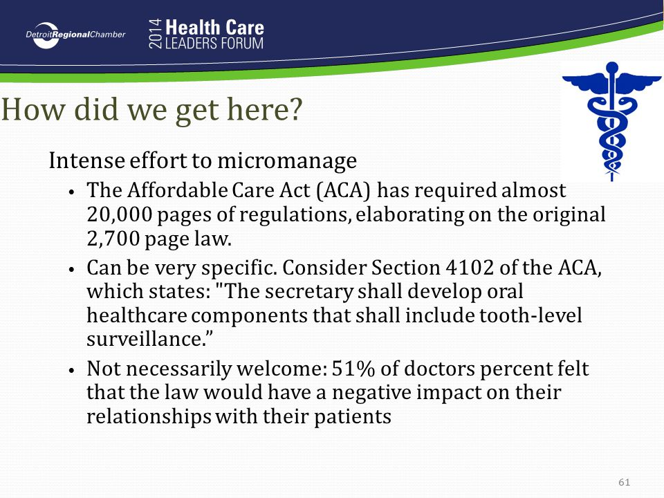 How did we get here? Intense effort to micromanage The Affordable Care Act (ACA) has required almost 20,000 pages of regulations, elaborating on the o