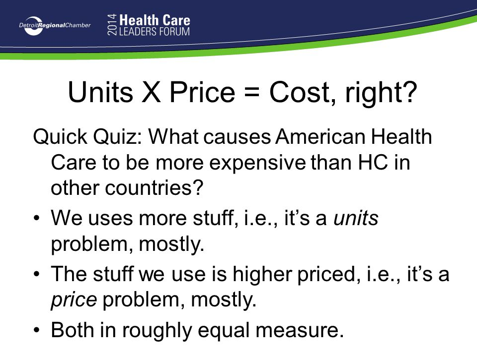 Units X Price = Cost, right? Quick Quiz: What causes American Health Care to be more expensive than HC in other countries? We uses more stuff, i.e., i