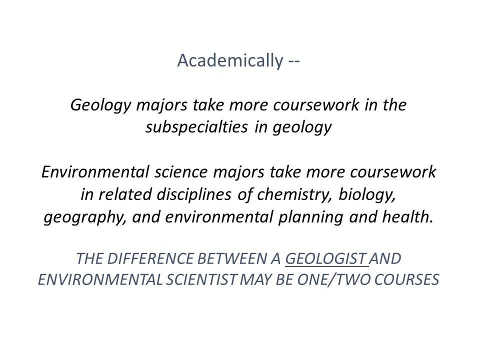 ENVIRONMENTAL GEOLOGY VS. ENVIRONMENTAL SCIENCE