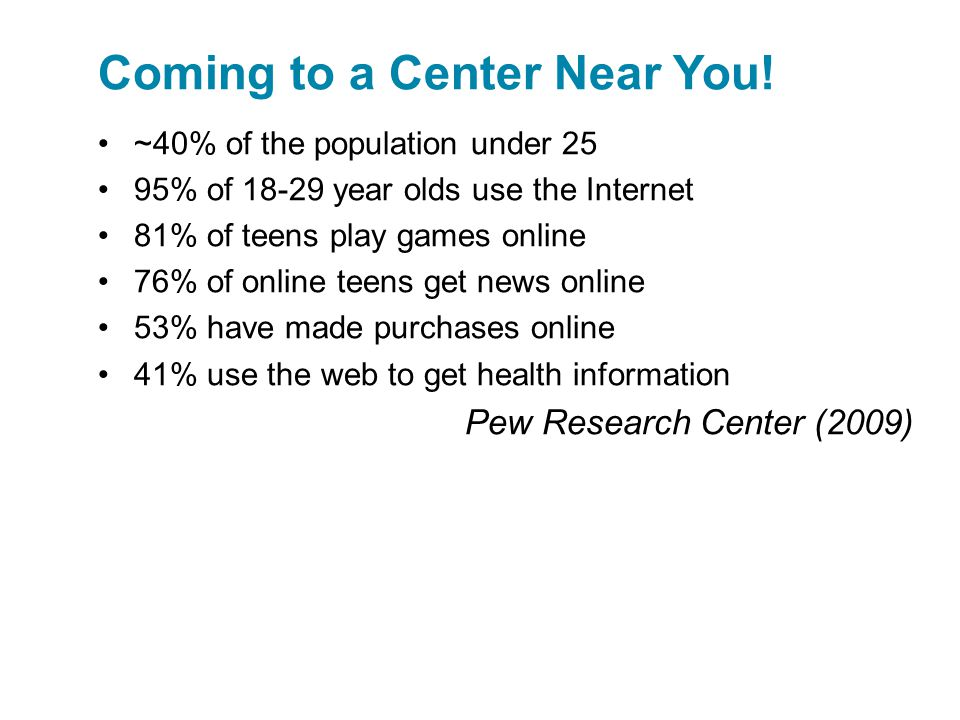 ~40% of the population under 25 95% of 18-29 year olds use the Internet 81% of teens play games online 76% of online teens get news online 53% have made purchases online 41% use the web to get health information Pew Research Center (2009) Coming to a Center Near You!