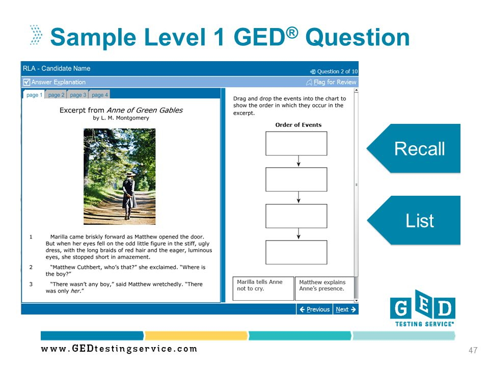 Sample Level 1 GED ® Question 47 List Recall