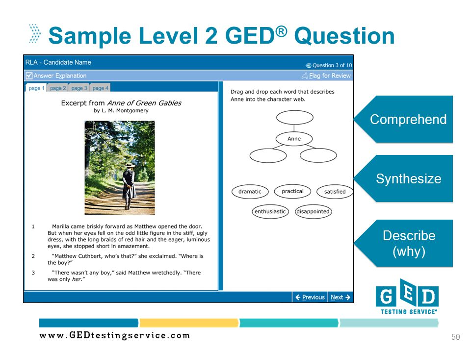 Sample Level 2 GED ® Question 50 Comprehend Synthesize Describe (why)