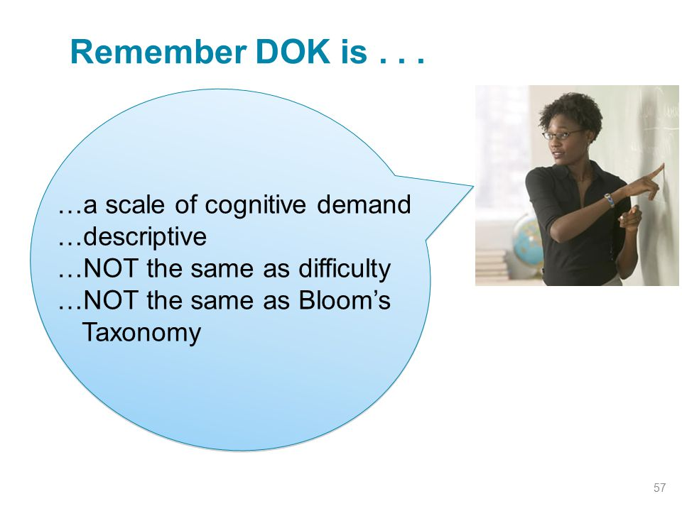 Remember DOK is... 57 …a scale of cognitive demand …descriptive …NOT the same as difficulty …NOT the same as Bloom's Taxonomy