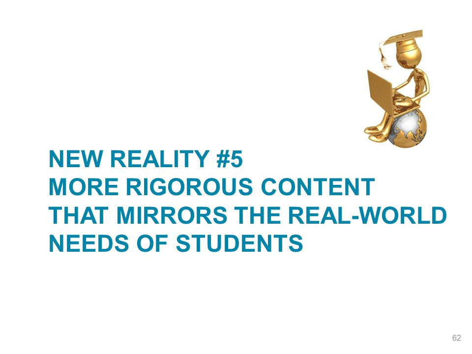 NEW REALITY #5 MORE RIGOROUS CONTENT THAT MIRRORS THE REAL-WORLD NEEDS OF STUDENTS 62