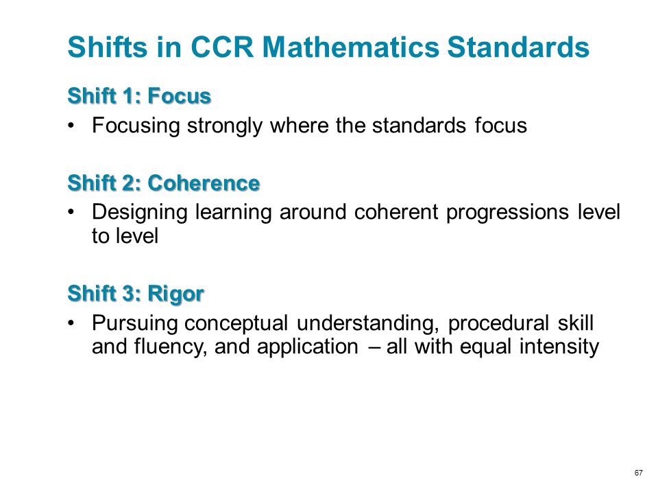 Shift 1: Focus Focusing strongly where the standards focus Shift 2: Coherence Designing learning around coherent progressions level to level Shift 3: Rigor Pursuing conceptual understanding, procedural skill and fluency, and application – all with equal intensity Shifts in CCR Mathematics Standards 67