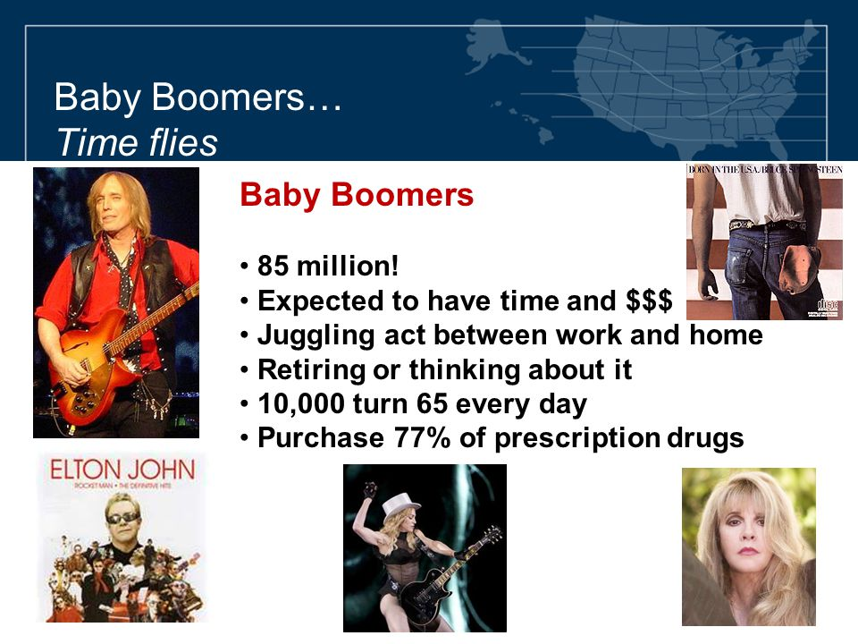 Baby Boomers… Time flies Baby Boomers 85 million! Expected to have time and $$$ Juggling act between work and home Retiring or thinking about it 10,00