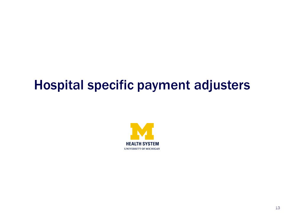 13 Hospital specific payment adjusters