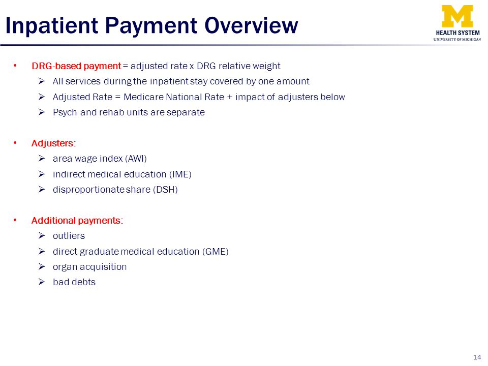 Inpatient Payment Overview DRG-based payment = adjusted rate x DRG relative weight  All services during the inpatient stay covered by one amount  Ad