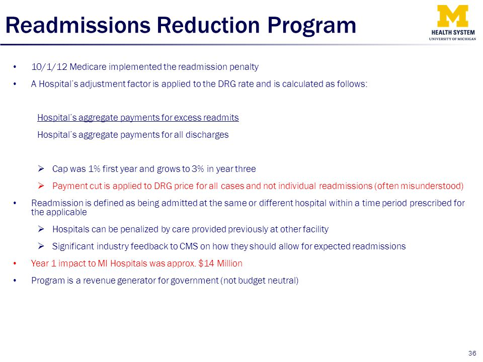 Readmissions Reduction Program 10/1/12 Medicare implemented the readmission penalty A Hospital's adjustment factor is applied to the DRG rate and is c