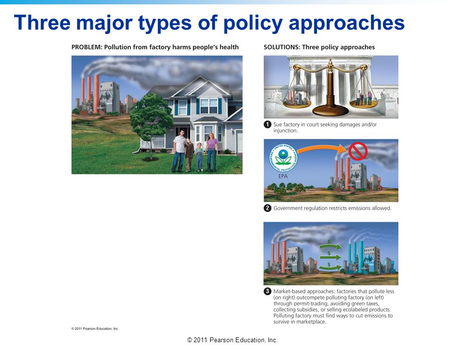 © 2011 Pearson Education, Inc. Three major types of policy approaches
