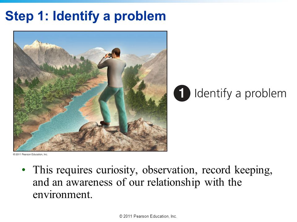 © 2011 Pearson Education, Inc. Step 1: Identify a problem This requires curiosity, observation, record keeping, and an awareness of our relationship w