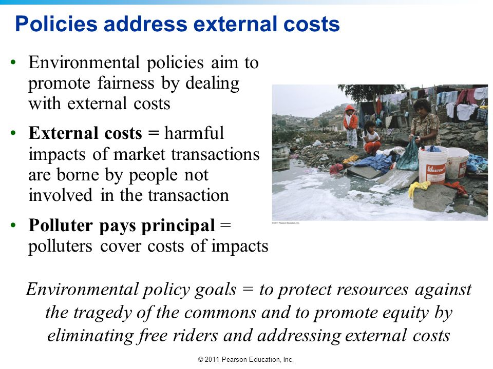 © 2011 Pearson Education, Inc. Policies address external costs Environmental policies aim to promote fairness by dealing with external costs External