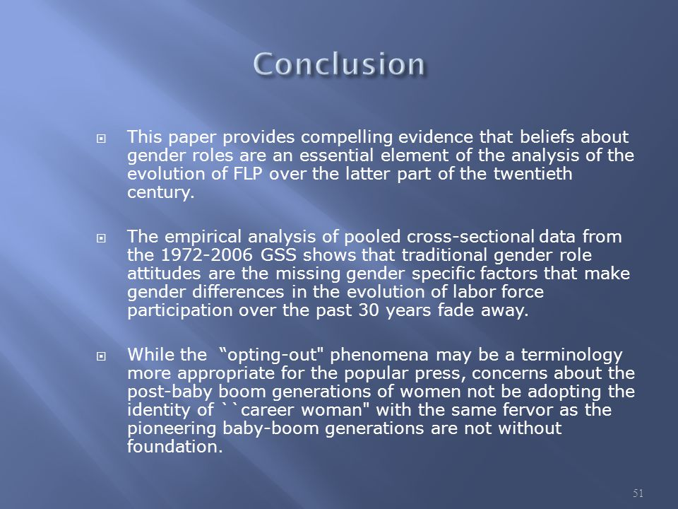  This paper provides compelling evidence that beliefs about gender roles are an essential element of the analysis of the evolution of FLP over the latter part of the twentieth century.