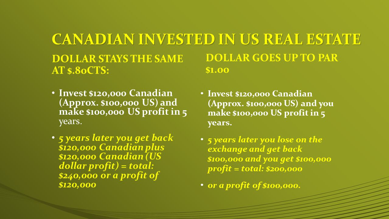 DOLLAR STAYS THE SAME AT $.80CTS: Invest $120,000 Canadian (Approx.