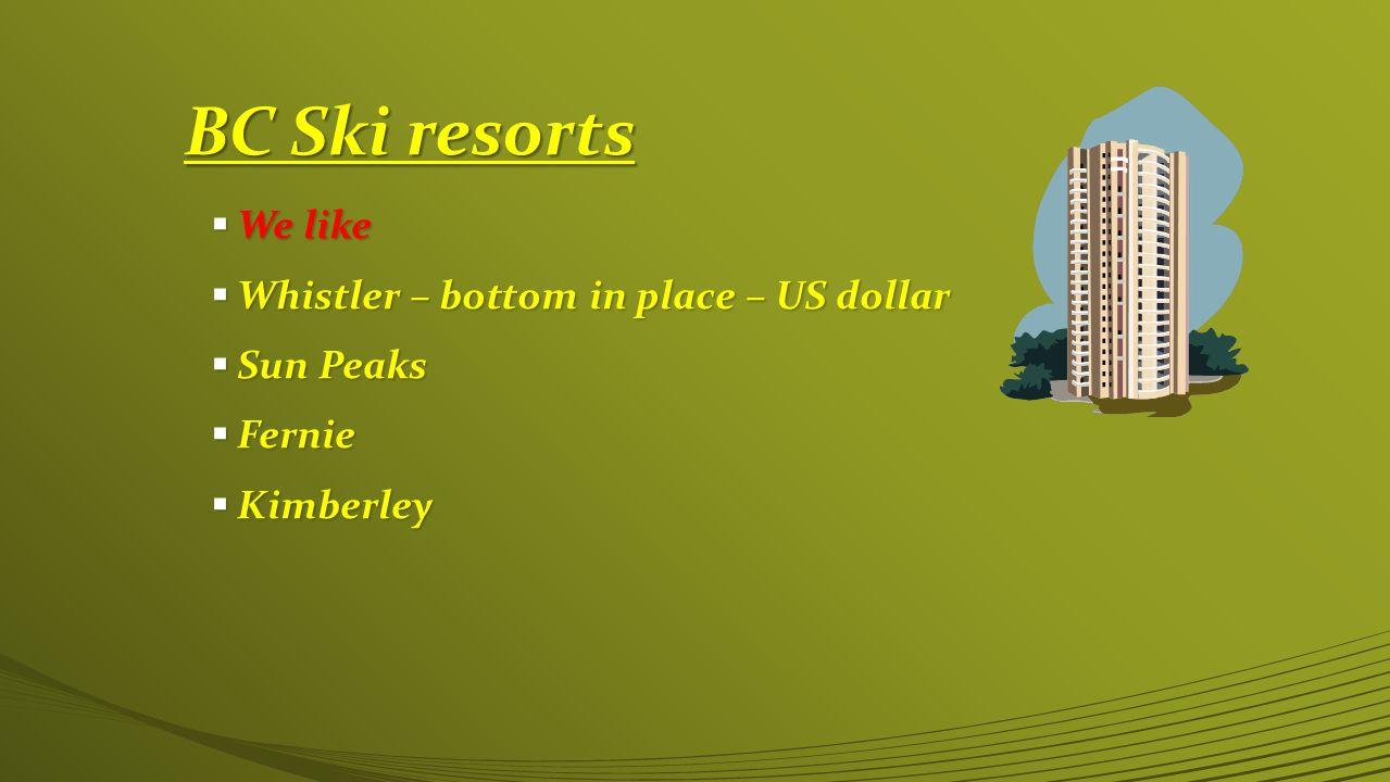 BC Ski resorts  We like  Whistler – bottom in place – US dollar  Sun Peaks  Fernie  Kimberley