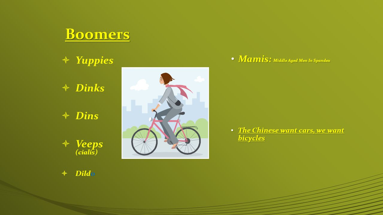 Boomers  Yuppies  Dinks  Dins  Veeps (cialis)  Dildo Mamis: Middle Aged Men In Spandex Mamis: Middle Aged Men In Spandex The Chinese want cars, we want bicycles The Chinese want cars, we want bicycles