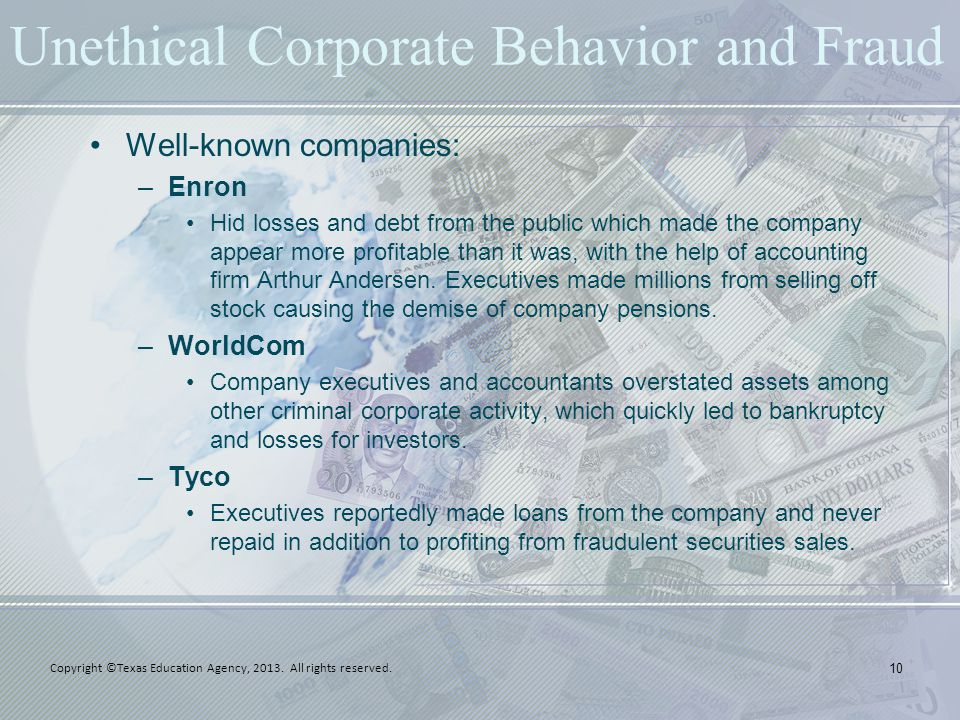 Unethical Corporate Behavior and Fraud Well-known companies: –Enron Hid losses and debt from the public which made the company appear more profitable