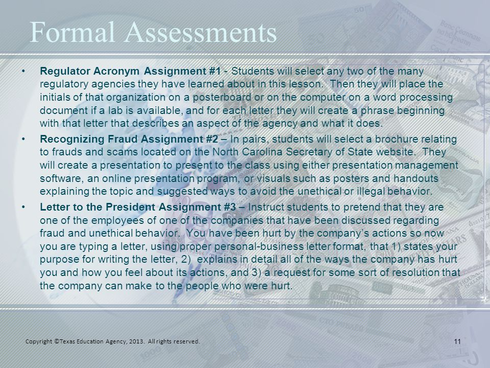 Formal Assessments Regulator Acronym Assignment #1 - Students will select any two of the many regulatory agencies they have learned about in this less