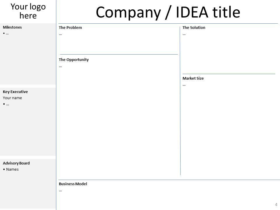 Company / IDEA title The Problem … The Solution … The Opportunity … Market Size … Business Model … Milestones … Key Executive Your name … Advisory Board Names 4 Your logo here
