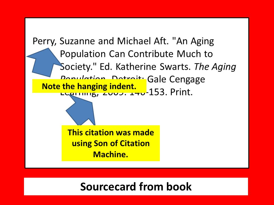 Sourcecard from book Perry, Suzanne and Michael Aft.